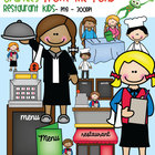 Restaurant Kids - Waiters, Table, Menus, Register, Chefs, Counter