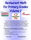 Restaurant Math for Primary Grades Volume 2