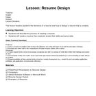 Resume Design Lesson