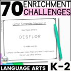 Reusable and Customizable Extension Task Cards   {K-2 Lang
