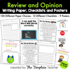 Review &amp; Opinion Writing Checklists, Posters, and Paper Ch