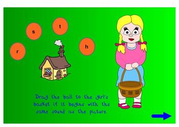 Review The Beginning Sounds h, r, s, t  (SmartBoard Lesson)