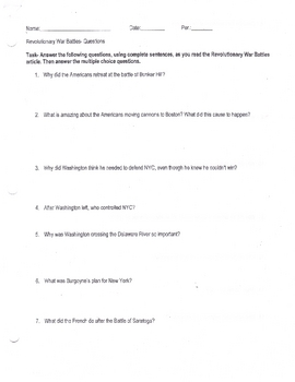 Revolutionary War battles Question Sheet