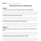 Revolutionary War on Wednesday Comprehension Questions
