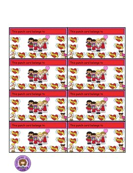 Reward Punch Cards Valentine