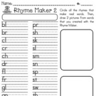 Rhyme Maker 2 worksheet w/ SMARTBOARD display
