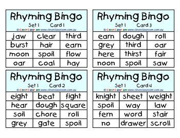 Rhyming Bingo Games x 12 - 5 pages