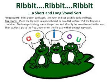 Ribbit..Ribbit...A short and long vowel sound sort