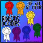 Ribbons Doodles (BW and full-color PNG images)