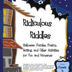 Ridiculous Riddles Halloween Puzzles, Poetry, Writing 89-p