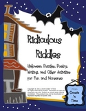 Ridiculous Riddles Halloween Puzzles, Poetry, Writing Task