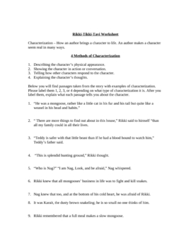 Rikki Tikki Tavi Character Worksheet w/ answer key