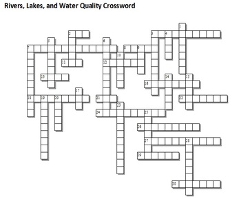 Rivers, Lakes, and Water Qualiy Unit Crossword Puzzle and