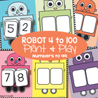 Robot 4 to 100 - Math Center / Game - Place Value - Number Lines