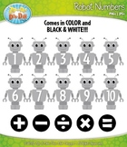 Robot Math Numbers Clipart — Over 30 Graphics!