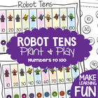 Robot Tens - Math Center Game Activity - Counting in Tens