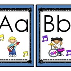 Rock Star Theme (Darker Color Scheme) Large Alphabet Cards