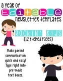Editable Newsletter Templates (12 included): Rockin' Kids Theme