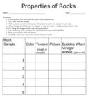 Rocks Lab Worksheet