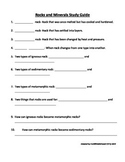 Rocks and Minerals Fill in the Blank Study Guide