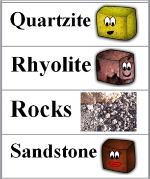 Rocks and Minerals Science Word Wall Cards