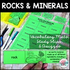 Rocks and Minerals Vocabulary Mat definition study tool pr