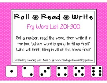 Roll Read Write --> (201-300 Fry List Sight Words/High Fre
