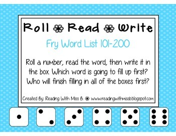 Roll Read Write --> (101-200 Fry List Sight Words/High Fre