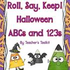 Roll, Say, Keep Game Halloween ABCs and 123s