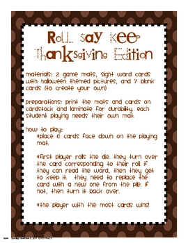 Roll Say Keep Thanksgiving/Fall Edition