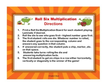 Roll Six Multiplication Free Sample