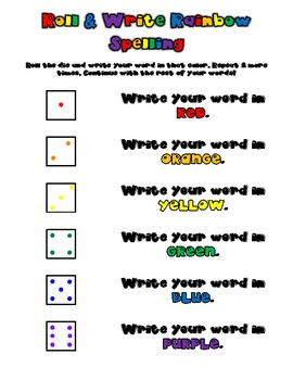 Roll and Write Rainbow Spelling