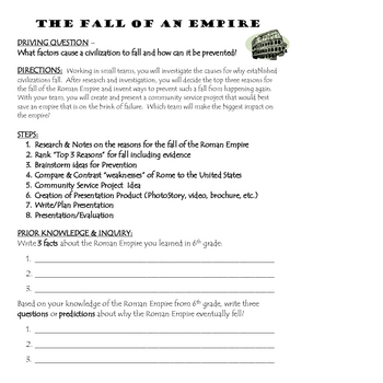 Roman Empire - Fall of an Empire PBL Unit