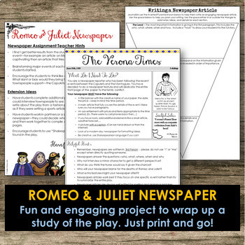 """Romeo & Juliet"" Newspaper Project / Creative Writing / Fi"