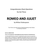 Romeo and Juliet Act Three Study Guide Questions