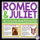 Romeo and Juliet Act and Scene Notes