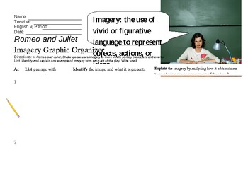 Romeo and Juliet Imagery Graphic Organizer
