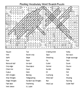 Roofing Construction Vocabulary in Crossword and Word Sear