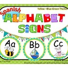 Round Alphabet Signs in Yellow- Blue- Green theme