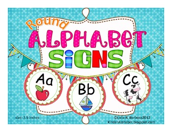 Round Alphabet Signs in red polka dots