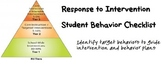 RtI Student Behavior Checklist