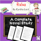Rules by Cynthia Lord A Novel Study with questions, activi