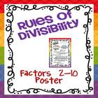 Rules of Divisibility 2-10 Poster FREEBIE!