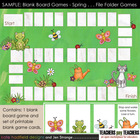 SAMPLE Blank Board Games: Spring (File Folder Games)