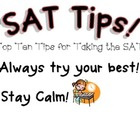 SAT Test Taking Tips poster