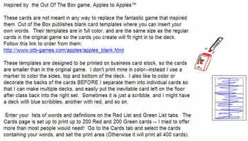 SAT vocabulary - Apples to Apples Inspired Game- Customizable