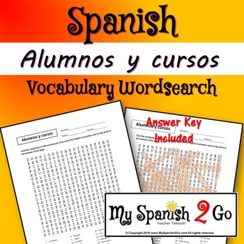 SCHOOL SUBJECTS:  Buen viaje I Ch.2 Alumnos y cursos Wordsearch
