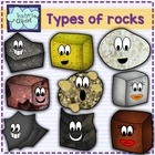 SCIENCE Clipart: Cute 3 types of rocks characters