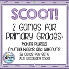 SCOOT!  First Grade & Primary Work on Words Plurals, Rhyme