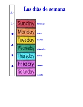 SPANISH - dis de semana (days of the week) and KEY
